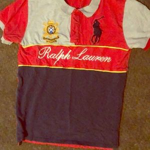 Polo  shirts large red gray and gold